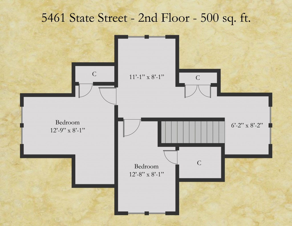 5461 State floor plan - second floor